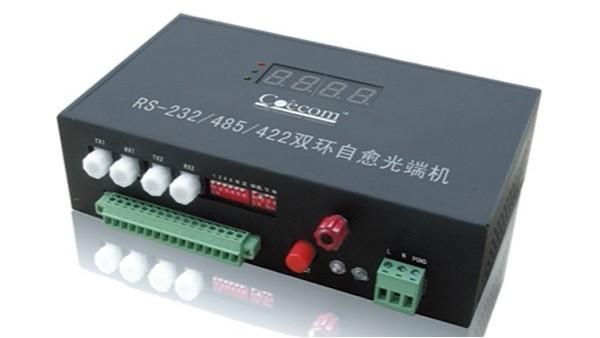 四通道环网工业级(卡轨式)串口光纤调制解调器
