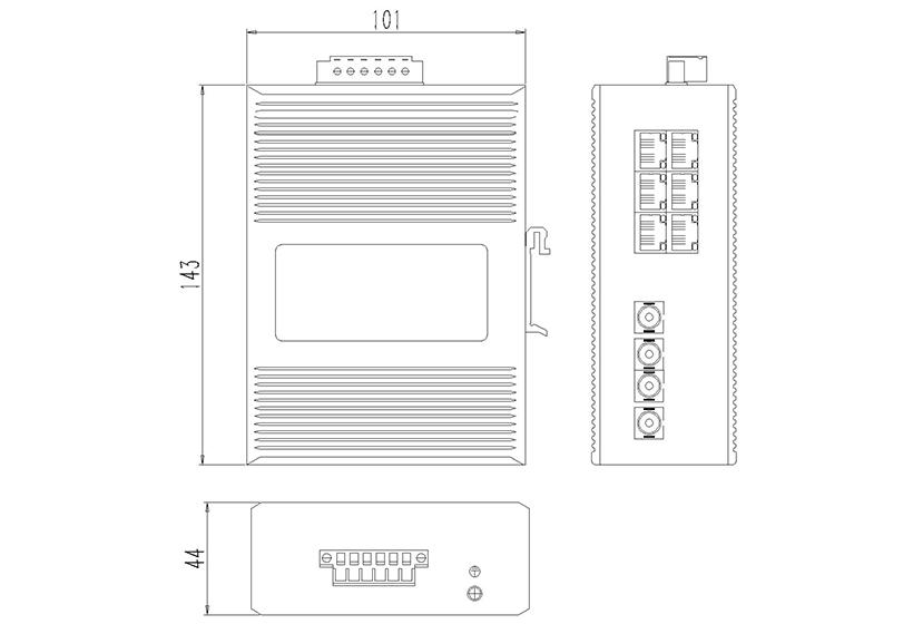 网管百兆2光6电(卡轨式)-外形尺寸