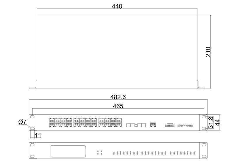 网管百兆2光24电ADC(机架式)-外形尺寸