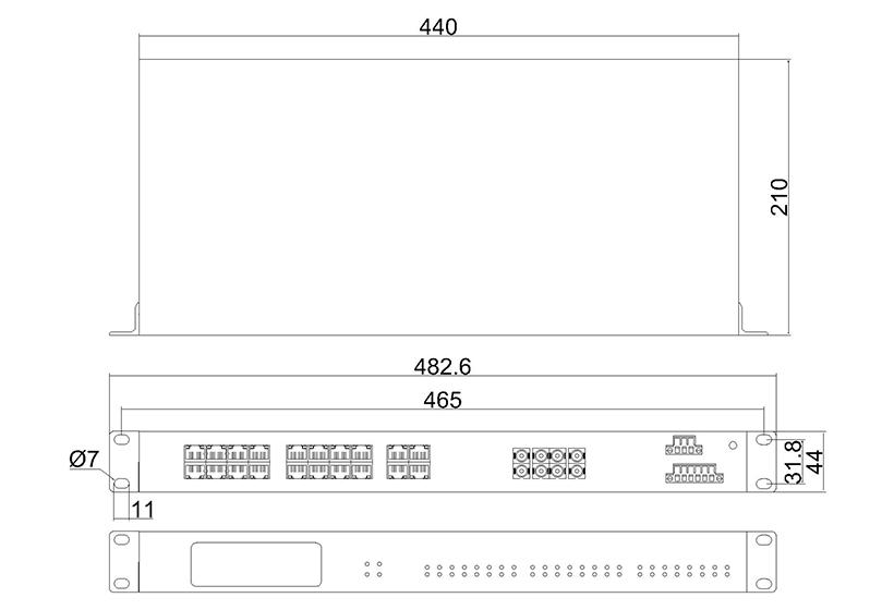 百兆4光20电ADC(机架式)-外形尺寸
