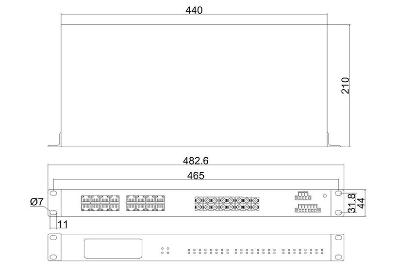 百兆8光16电ADC(机架式)-外形尺寸