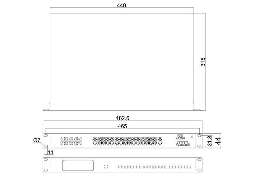 百兆16光8电ADC(机架式)-外形尺寸